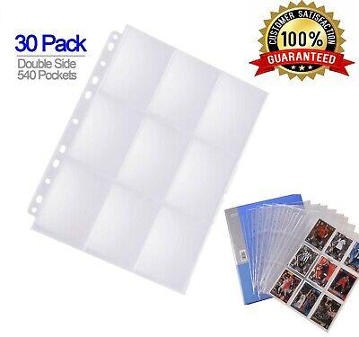 540 CARD ALBUM Binder Plastic Protector Sleeves Clear 9 Pocket Pokemon, Baseball