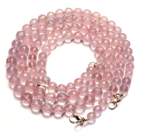 """Natural Gemstone Rose Quartz 7 to 9MM Size Faceted Round Beads Necklace 17"""""""