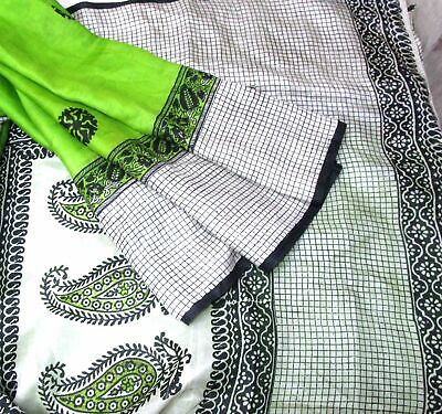 CA LOT PURE SILK Antique Vintage Sari REMNANT Fabrics 100 GRAMS Floral #ABCVZ