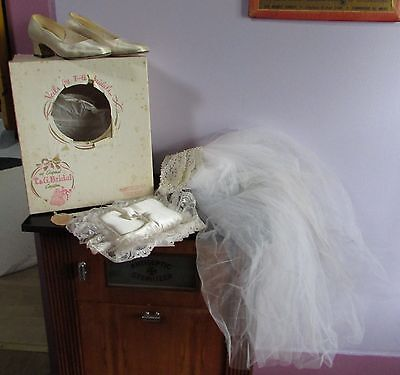 Vintage Wedding Bridal Veil with Bridal Shoes and Ring Bearer Pillow orig box](Ring Bearer Shoes)
