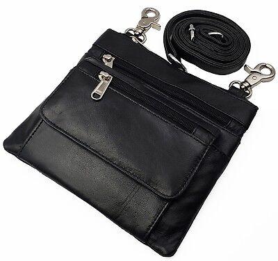 Biker Boho Waist Loop Pouch Hip Fanny Cross-Body Bag Leather I Phone Cover Black - Boho Leather