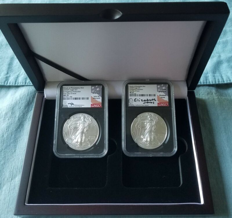 2020 (P) $1 Silver Eagle Philadelphia Emergency Issue NGC MS70 FDOI (2) COINS