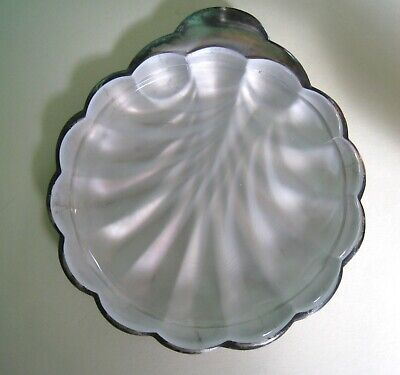 Vintage Sweden Silver Ashtray W/Frosted Glass Insert Shell Shaped Marked