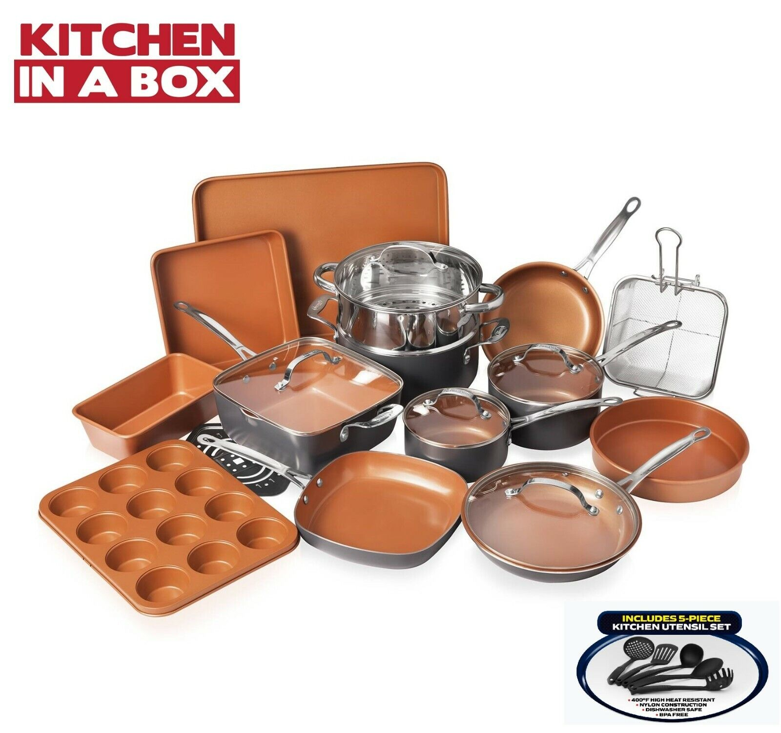 Gotham Steel 20 Piece All in One  Kitchen Cookware + Bakewar