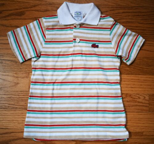 Vintage 1970s-1980s Izod Lacoste Polo Shirt 4T Tan Green White Red