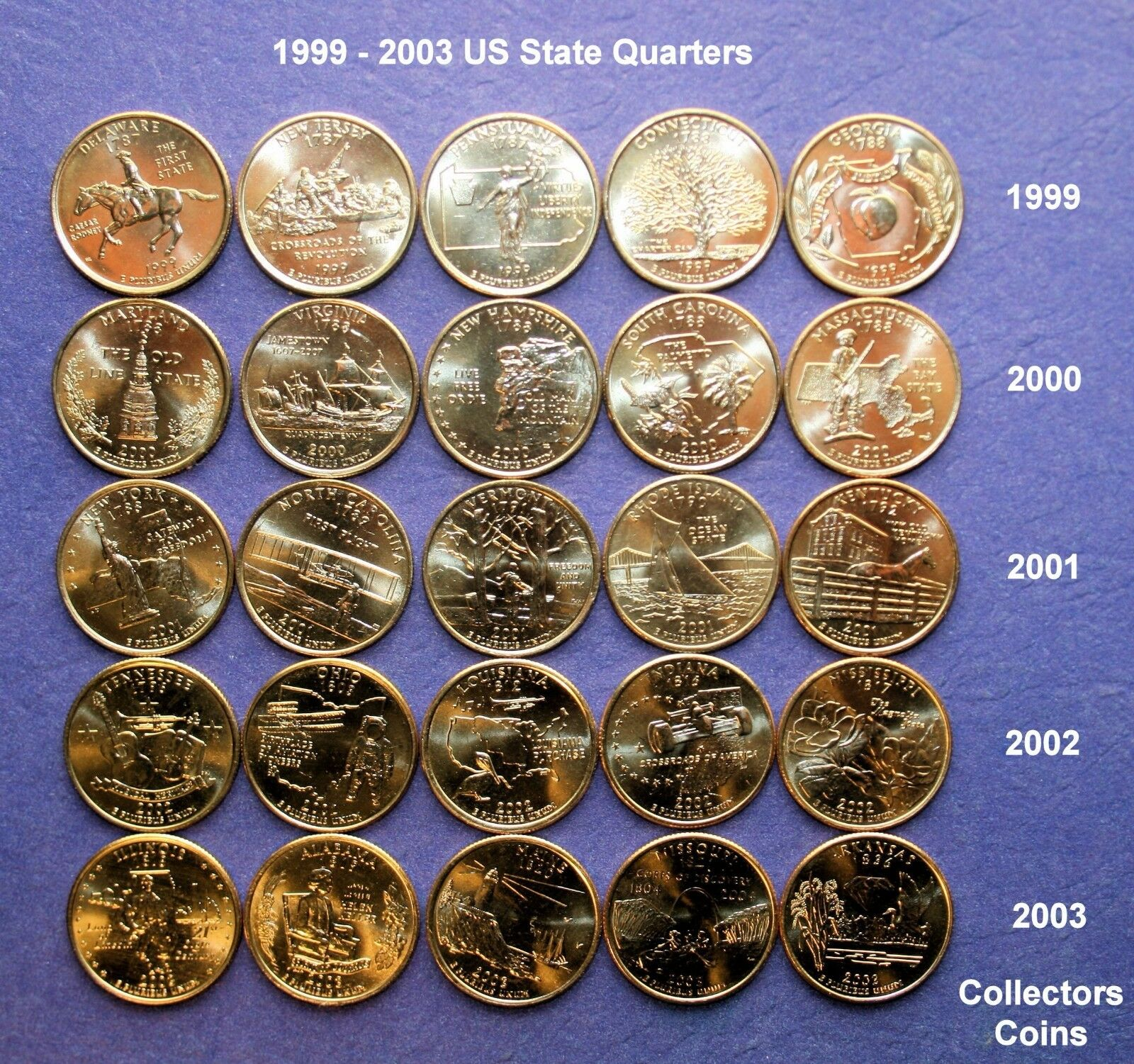 United States of America State Coin Collector/'s Map 50 state quarters 99-08 NEW