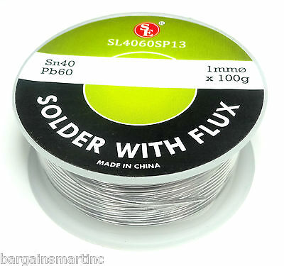 Spool Of 100 Grams Flux Coated Soldering Wire 1mm Thick Diameter 4060 Tinlead