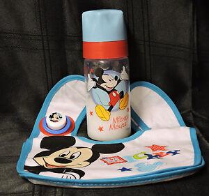 reborn baby bottle (Disney micky mouse 9 oz) fake milk,bib and magnetic dummy