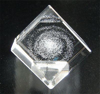 """MILKY WAY (Spiral Galaxy) 3-D Lazer-etch glass crystal cuboid 1""""/25mm sq. TAKARA"""