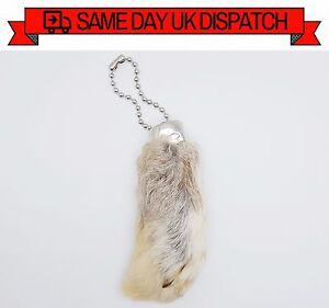 NATURAL COLOUR LUCKY Rabbit Foot Good Luck Charm Pendant Key Ring In Organza Bag