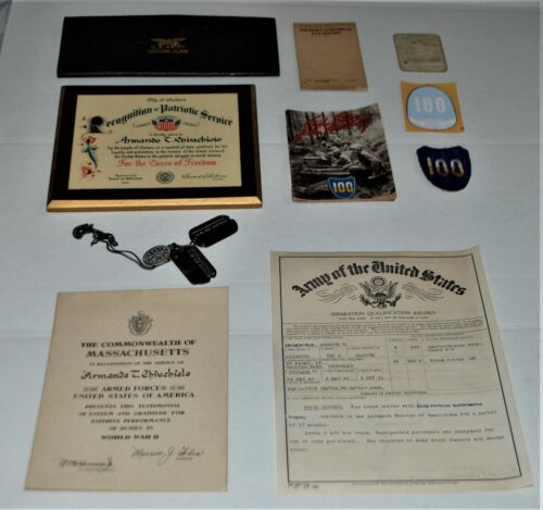 WWII 100th Infantry Dog Tags, Honorable Discharge Certificate, Patch, Decal, Etc