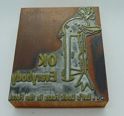 Vintage Printing Letterpress Printers Block Ok Everybody Lets Look Facts In Face