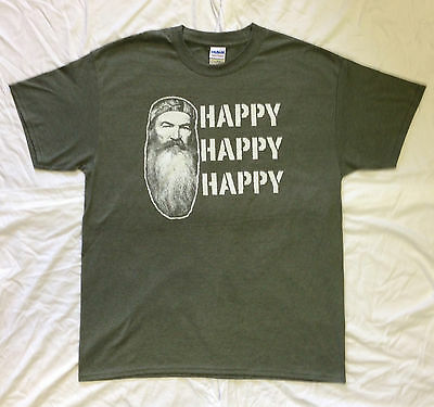 HAPPY HAPPY HAPPY Heather Green T Shirt DUCK DYNASTY Show Commander Call