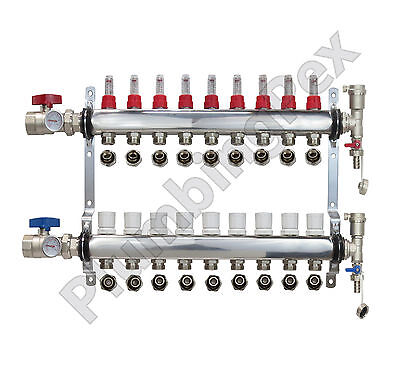 9-branch Pex Radiant Floor Heating Manifold Stainless W 12 Connectors