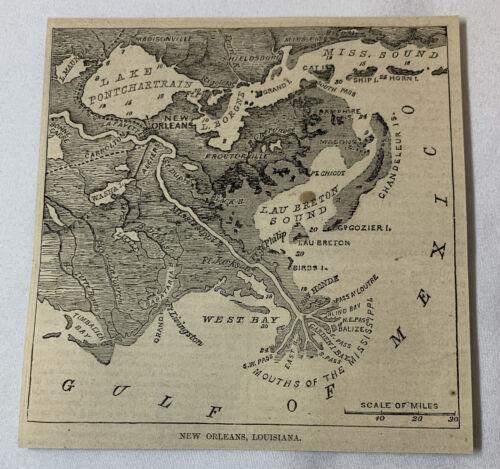 1861 newspaper map ~ NEW ORLEANS, LOUISIANA