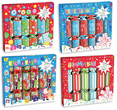 Party Game Christmas Crackers Box Of 6 Includes Joke Hat & Family Table Game - Christmas Party Game