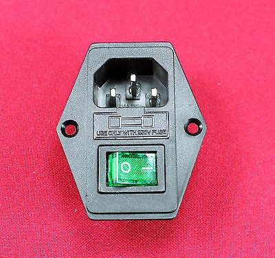 10A 250V AC Rocker Switch 3 Pin IEC320 C14 Inlet Module mALE Plug Fuse, New,