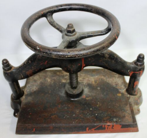 "Antique Cast Iron Book Press Binding Hand Wheel Binder 78 LBS! 15"" X 10.5"""
