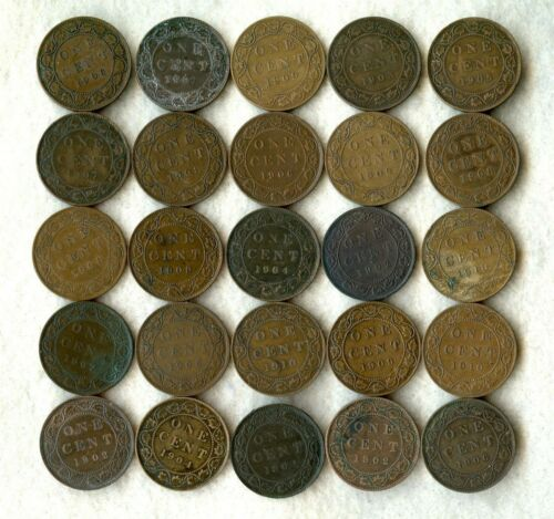 CANADA ~ EDWARD VII ~ (1902-1910) ~ LARGE CENT LOT ~ VG-VF ~ 25 COINS