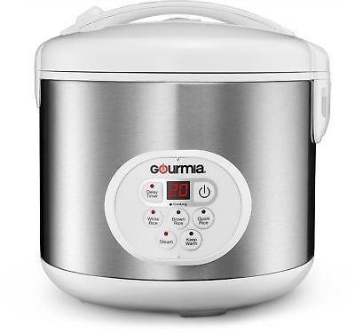 Gourmia GRC870 20 Cup Stainless Knife Digital Rice Cooker and Steamer W/ Timer