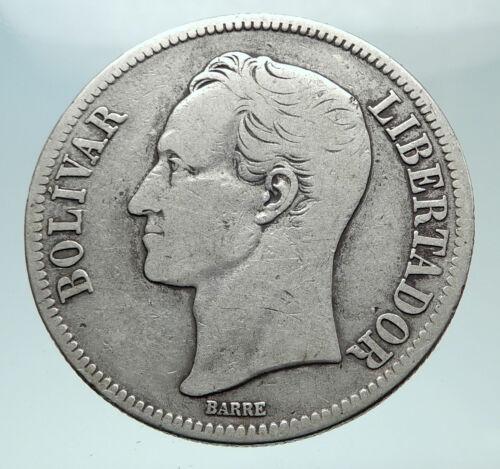 1919 Freemason President Simon Bolivar VENEZUELA Founder Silver Coin i80850