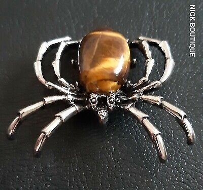 Tiger Eye Spider Broach Vintage Style Silver Insect Pin Brooch Pendant Gift