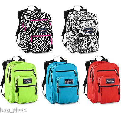 Jansport BIG STUDENT Large Backpack Neon Green Pink Red Zebra Blue ...