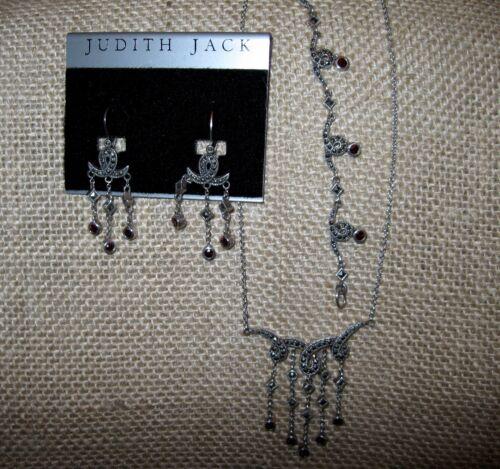 Judith Jack JJ Sterling Silver Marcasite Garnet Necklace Earrings Bracelet SET