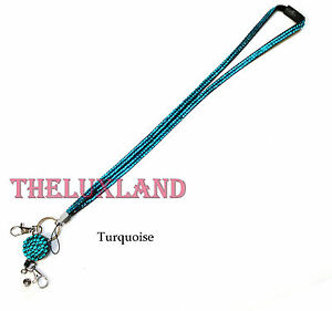 Rhinestone Bling Crystal Lanyard ID Badge Cell Phone Retractable Reel Holder Key