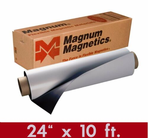 """Magnum Mag 24"""" x 10 Ft ROLL 30 Mil. White Magnetic Sign Sheet Cars / Crafts"""