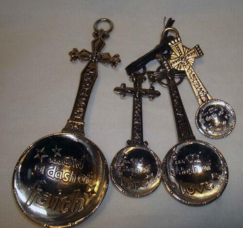 Gantz Religious Silver Dash of Faith Love Hope Joy Cross Measuring Spoons Set