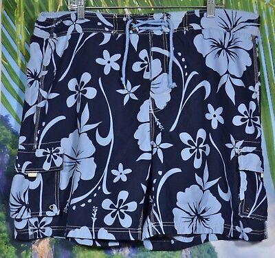 SAND N SUN Mens Blue Hawaiian Floral Swim Trunks Ties at Waistband Hook Loop Fly