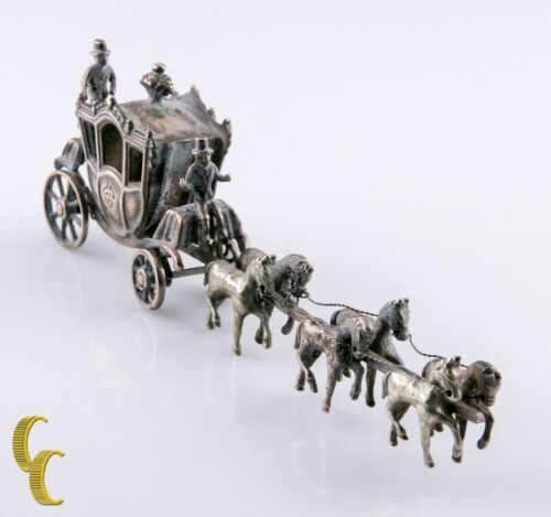 Miniature Men w/Horses & Carriage Silver Vintage Dollhouse Figurine