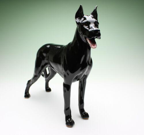 Black Great Dane Standing Dog Ceramic Porcelain Figurine Japan NEW