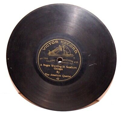 """RARE Antique 7"""" 1st VICTOR RECORD WITH DOG MASCOT 42 Phonograph Gramophone 1901"""