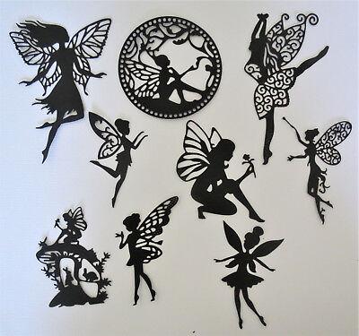 Fairies #3 Fairy Intricate Paper Die Cut Embellishments scrapbooking 9 pc Black