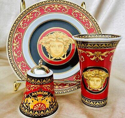 Versace Rosenthal Medusa Red Bread Butter Plate, Christmas bell ornament, vase