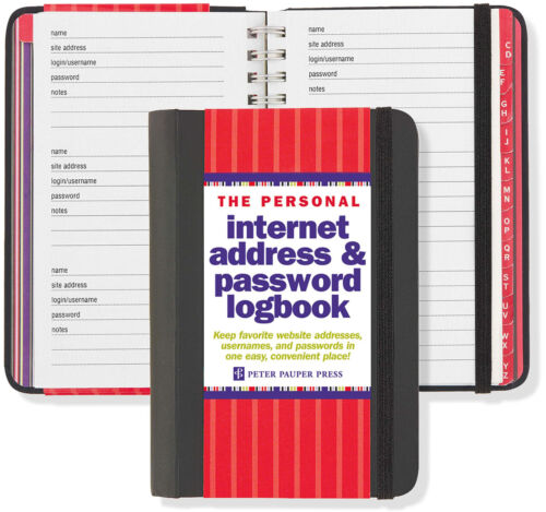 "Internet Password Address Book Keeper Manager Notebook Personal Logbook 4""x6"""