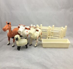 Vintage Fisher Price Farm Barn Horse Cow Sheep Trough Fence