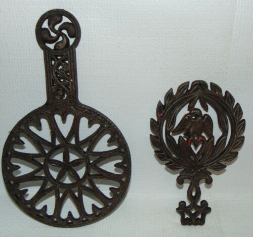2 Iron Trivets Heavy Cast Metal Vintage Hot Plate Antique Eagle