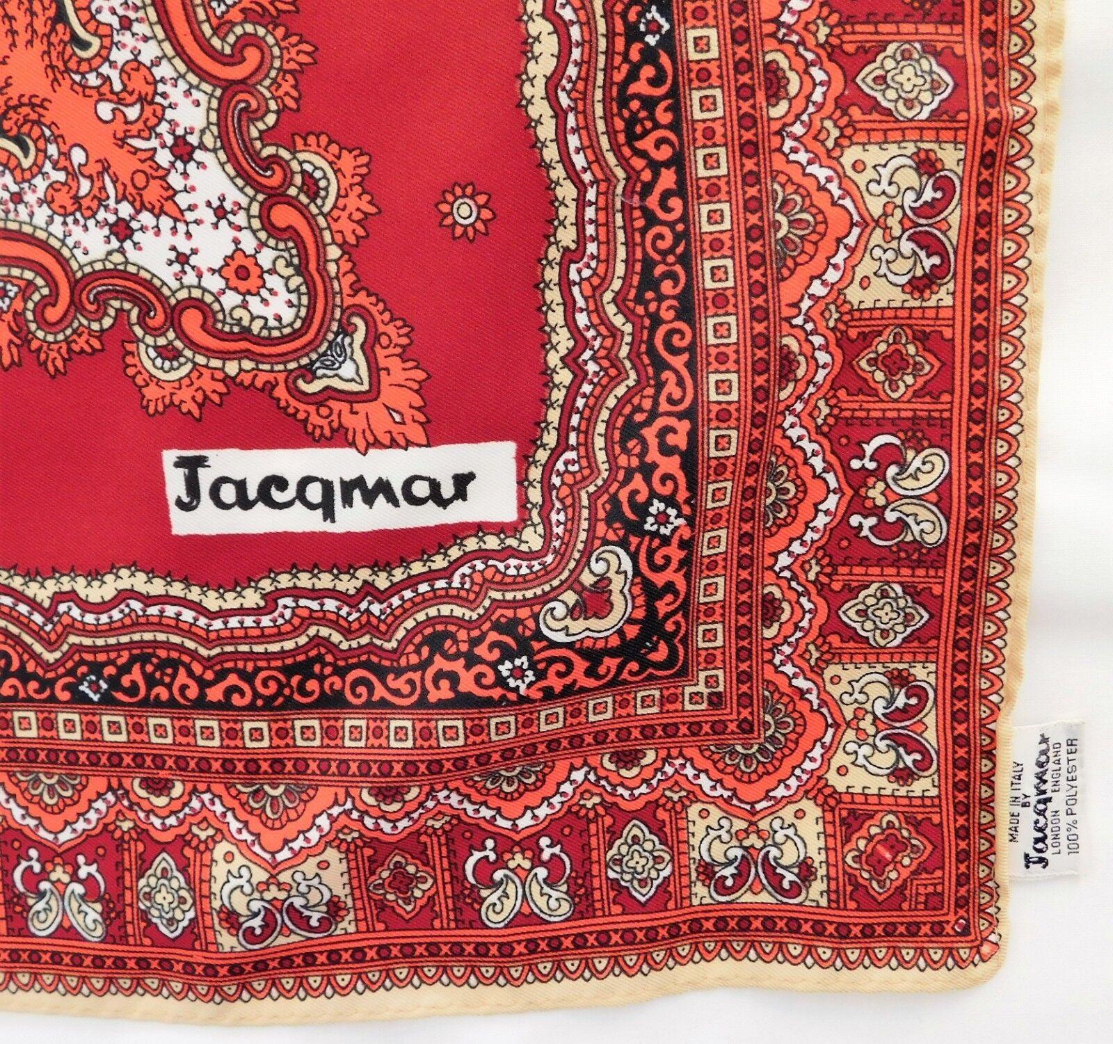 "Vintage Jacqmar Italian scarf 30"" square Paisley pattern machine washable gq"