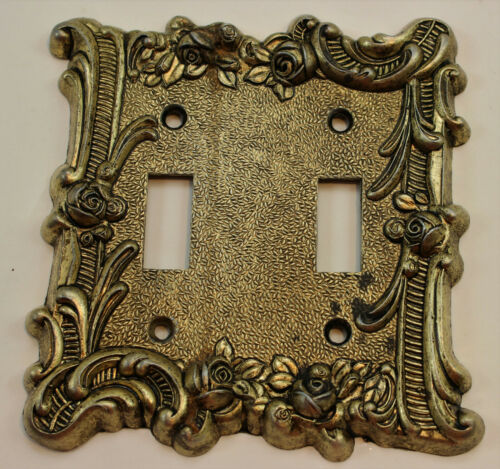 Vintage Edmar Rose 2 Toggle Double Light Switch Wall Plate Cover Brass Metal 103