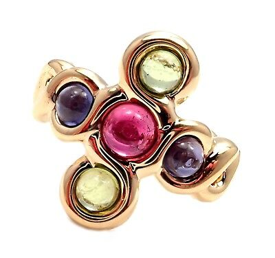 Authentic! Chanel 18k Yellow Gold Pink Green Tourmaline Ring sz 4.5
