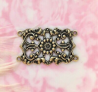 ANTIQUE BRASS 4 Ring Floral CONNECTOR Stamping ~ Jewelry (FA-6062) ()