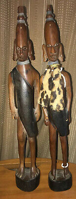 Pair of Statuettes Africa Ethnic Wood Carved Warriors Maasai