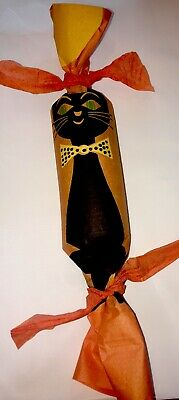 1 Vintage Crepe Paper Halloween 🎃 Toy Candy Party Favor Cracker Black Cat OOAK! - Black Cat Halloween Candy