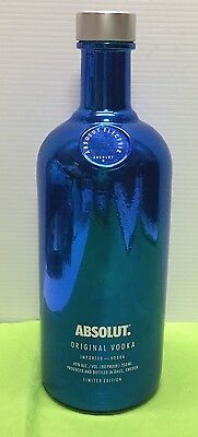 Absolut Vodka MIRROR ELECTRIC BLUE PROMO Bling Limited Edition EMPTY Bottle