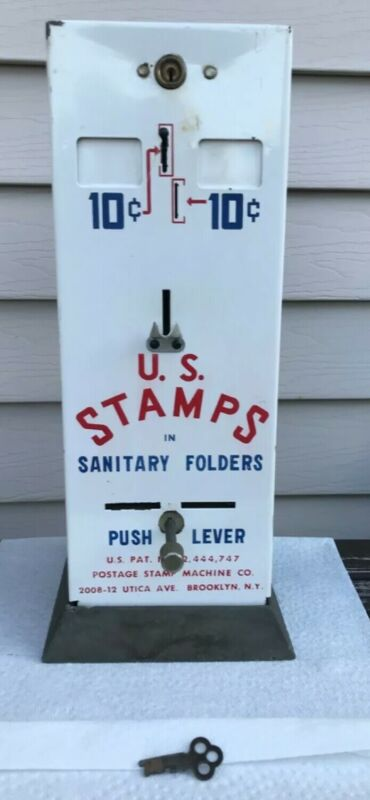 Vintage U.S. Postage Stamp Vending Machine 10 cents. Has Key and works.
