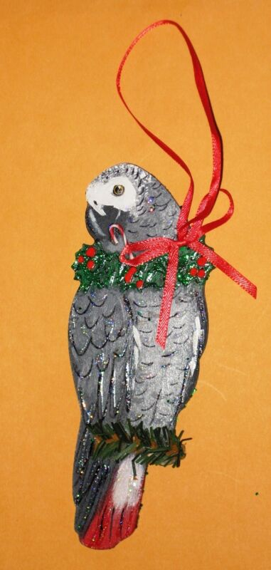 AFRICAN GREY PARROT CHRISTMAS TREE ORNAMENT Original Art! Handpainted-Wood