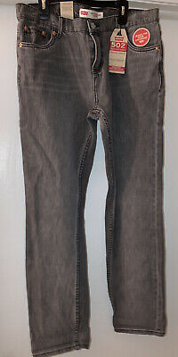 LEVI'S 502 Regular Taper Stretch Gray Denim Jeans NWT 20 Reg 30x30 Free Shipping